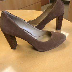 Michael Kors brown suede block heel pumps